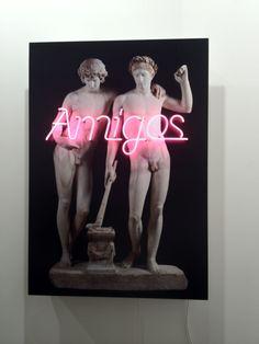Michael Elmgreen & Ingar Dragset Amigos 2011 Color photograph with neon light