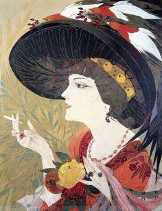 Georges DE FEURE La Fumeuse 1908-1910 Art-Nouveau-symbolism