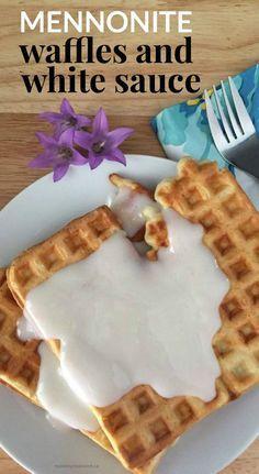 waffles and white sauce Homemade Mennonite Waffles and White Sauce.Homemade Mennonite Waffles and White Sauce. Amish Recipes, Dutch Recipes, Waffle Recipes, Pudding Recipes, Baking Recipes, Dessert Recipes, Desserts, Breakfast Recipes, Breakfast Ideas