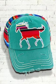 39fa836e806 Distressed Turquoise Serape Horse Cowgirl Ball Cap Cotton Serape Side  Panels