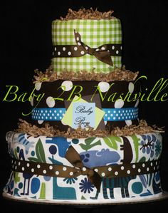 Blue Zoo Boy Diaper Cake... Baby Shower Centerpiece. $92.00, via Etsy.
