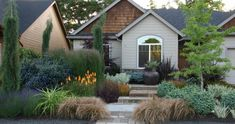 I particularly like the salt-glazed jar which makes an interesting focal point in this front garden with striking planting by Portfolio: MOSAIC GARDENS: Landscape - Garden Design and Construction in Eugene, Oregon Small Gardens, Outdoor Gardens, Front Gardens, House Gardens, Fine Gardening, Flower Gardening, Mosaic Garden, Glass Garden, Garden Art