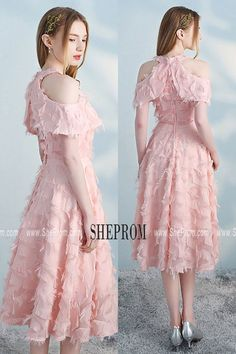 92367a0aaa Pink Tea Length Halter Party Dress Aline with Cold Shoulder HTX86047 at   SheProm. Shop