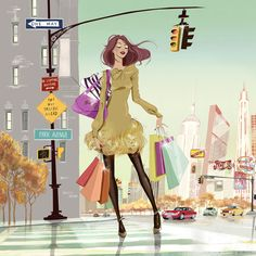 #lucytruman #newdivision #illustration #stylised #contemporary #character #fashion #shopping #newyork