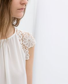 lace sleeve blouse / Zara