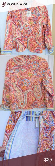 Coldwater Creek Cotton Jacket Sz L NWT Similar to a lightweight jean jacket style. 100% cotton, beautiful paisley print with stripe accents. Many colors in this jacket including salmon-pink & white with magenta, bright blue, orange, yellow & green. Button front & cuffs. Coldwater Creek Jackets & Coats Jean Jackets