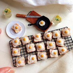 Fried egg toast miniature