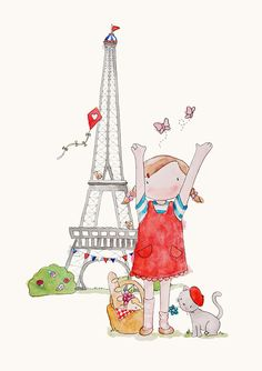 Poppy's Picnic in Paris French Nursery Art Watercolour Print