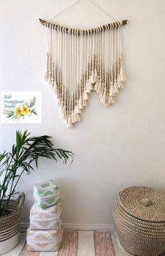 "LARGE Macrame Wall Hanging Neutral ""Amlapura"" Hand Beaded Tassels ""Amlapura""/Boho Decor/Coastal Decor/Bohemian Decor/Made to Order Bohemian Headboard, Bohemian Wall Decor, Coastal Decor, Bedroom Headboards, Headboard Decor, Coastal Style, Bedroom Wall, Macrame Wall Hanging Diy, Handmade Wall Hanging"