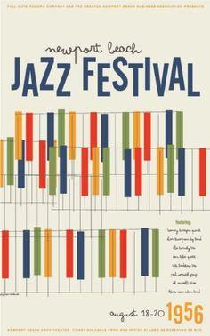 Jazz festival poster. De este trabajo también me llama la atención el lenguaje, cómo utiliza la línea para darle caracter e identidad a la pieza, además de la tipografía y la composición.
