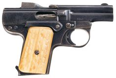 Henri & Nicolas Pieper semi automatic pistol with stag grips, early 20th century.