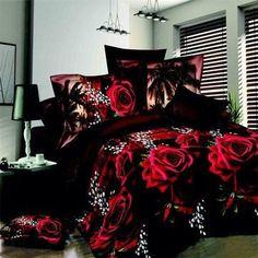 Red Rose Black Skin Floral Print Bedding Set Queen Size Bedding Sets(Comforter Not Included) Red Bedding Sets, 3d Bedding, Cheap Bedding Sets, Bedding Sets Online, Queen Bedding Sets, Luxury Bedding, Linen Bedding, Floral Bedding, Unique Bedding