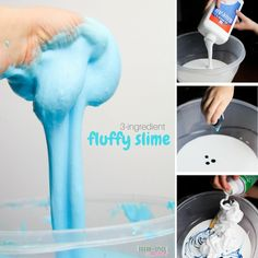 How to make fluffy slime with just 3 ingredients  Ingredients to Make Fluffy Slime  1 litre OR Quarter Gallon White School Glue 8-10 cups shaving cream (less than a full canister) 1-12oz bottle contact lens (saline) solution – this is the brand I used Food dye, optional