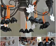 DIY Cute Bats from egg carton and Adorable Ghosts from leaves.  Instructions--> http://wonderfuldiy.com/wonderful-diy-halloween-recycled-bats-and-ghosts/