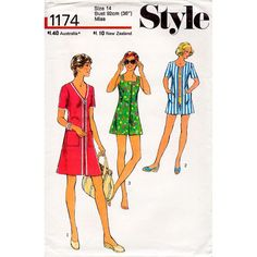 1970s Beach Dress Pattern Style 1174 Vintage by BessieAndMaive