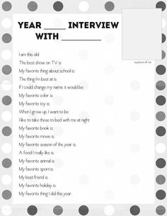 Free printable for year end interview questions (or for their birthday each year)-