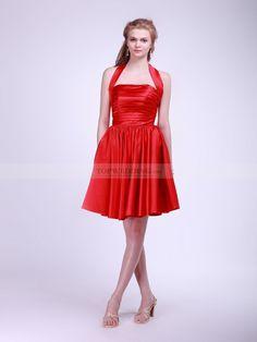 Short A Line Halter Ruched Elastic Satin Bridesmaid Dress 0114048