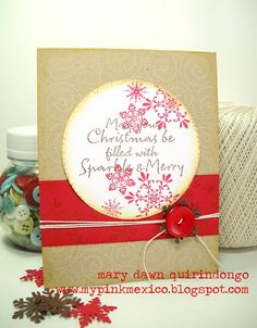 handmade Christmas card ... kraft base card ... cream and red papers and ink ... like how the stamping looks in the different layers ...