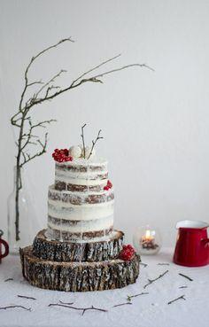 Walnut, carob, tonka naked cake with egg custard and vanilla mascarpone