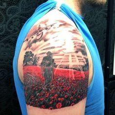 75 Poppy Tattoo Designs For Men – Remembrance Flower Ink Upper Arm Solider Walking In Poppy Field Mens Tattoo Remembrance Flowers, Remembrance Tattoos, Memorial Tattoos, Army Tattoos, Military Tattoos, Sleeve Tattoos, Firefighter Tattoos, Warrior Tattoos, Men Tattoos
