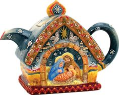 Mativity scene on teapot