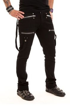 Spodnie z szelkami - BARRIER PANTS, gotyckie, punkowe