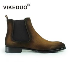 VIKEDUO Brand 2017 Newest Vintage Retro Handmade Man Boy Male Casual Outdoor Boots Fashion Luxury Top Suede Cow Leather Boots