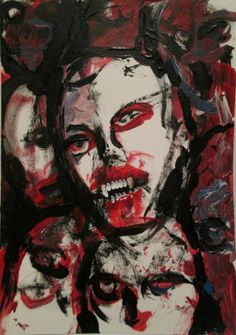 """BLOODTHIRST""   original art, jack larson  2.5""x3.5"" acrylic on bristol"