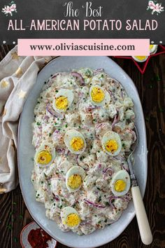 A summer celebration is not the same without a classic American Potato Salad! Creamy, tangy and easily customizable so you can make it your own, this easy potato salad recipe is the best! Feel free to skip the hard-boiled eggs if that's not your thing! This amazing potato salad recipe is the perfect side dish for summer BBQs, cookouts, July 4th and Memorial Day! #potatosalad #sidedish Side Dishes For Chicken, Vegetarian Side Dishes, Dinner Side Dishes, Potato Side Dishes, Healthy Side Dishes, Side Dishes Easy, Dinner Sides, Potato Salad Recipe Easy, Potato Recipes