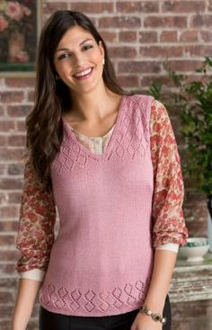 Diamond Lace Vest Free Knitting Pattern from Red Heart Yarns