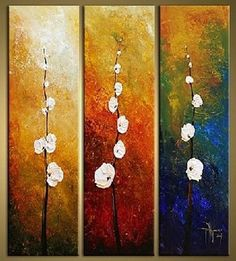 Flower Art, Bedroom Wall Art, Canvas Painting, Abstract Art, Large Art – Silvia Home Craft 3 Piece Canvas Art, 3 Piece Wall Art, Abstract Canvas Art, Acrylic Art, Canvas Wall Art, Painting Abstract, Painting Canvas, Canvas Canvas, Large Canvas