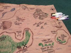Running out of things to do with the kids? Try this DIY Pirate Treasure Map activity! Make the map and then have a treasure hunt. It's TWO ACTIVITIES IN ONE! Then let the kids play with the map. Time Activities, Craft Activities For Kids, Crafts For Kids, Learning Activities, Spring Projects, Craft Projects, Craft Ideas, Dead In Spanish, Pirate Treasure Maps