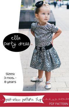 Peek-a-Boo Pattern Shop — Ella Party Dress: Sizes 3 mos. - 8 years -
