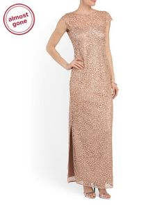 image of Sequined Side Slit Gown
