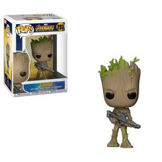 Buy Marvel Avengers Infinity War Teen Groot with Gun Funko Pop! Vinyl from Pop In A Box UK, the home of Funko Pop Vinyl subscriptions and more. Funko Pop Marvel, Marvel Avengers, Groot Avengers, Marvel Pop Vinyl, Marvel Infinity, Avengers Infinity War, Pop Vinyl Figures, Funko Pop Figures, Figurines D'action