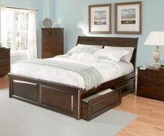 Bordeaux Antique Walnut Solid Wood King Bed w/Raised Panel Footboard
