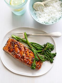 Teriyaki-Glazed Salmon with Grilled Sesame Broccolini