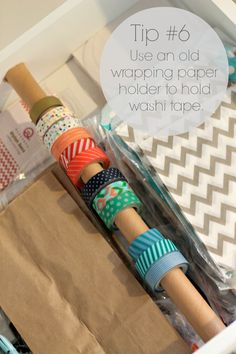 Craft Room Organization - Tip for storing washi tape by PartiesforPennies.com  #organization #tips