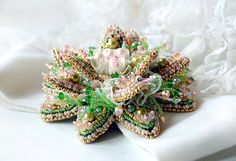 Bead embroidered green pink brooch Water lily by MadameElegant, $141.00