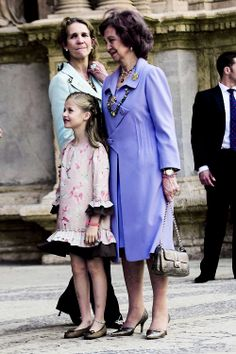 (3) Tumblr: Queen Sofia with granddaughter Princess Leonor 4/20/14