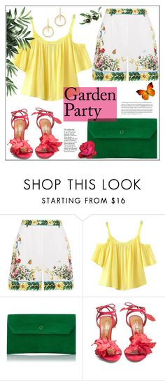 """""""Printed Shorts: Garden Party"""" by pat912 ❤ liked on Polyvore featuring Dolce&Gabbana, Chicnova Fashion, L.K.Bennett, Aquazzura, Sole Society, dolceandgabbana, printedshorts and polyvoreeditorial"""