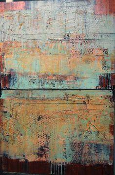 Copper Mine, 24 x 36, plaster / paint / glaze on canvas by Debra Corbett at a Scottsdale art gallery