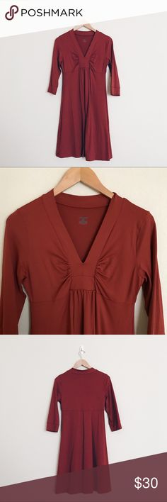 Patagonia Burnt Orange Respite Dress Great Pre-Owned Condition. 3/4 Sleeves. Soft and stretchy. Patagonia Dresses