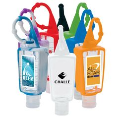 Ummah Promotions from Hicksville NY USA One ounce hand sanitizer bottle has a colorful silicone bottle holder and easy to attach beaded silicone strap. Gel is alcohol and FDA approved. All Star, Mike And Ike, Employee Gifts, Hand Logo, Bottle Holders, Corporate Gifts, 1 Oz, Hand Sanitizer, Bath And Body Works