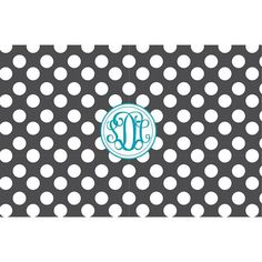 Personalized Polka Dot Pattern Monogrammed Serving Tray from Shelby Dillon Studios. For all your colorful home style needs, shop ShelbyDillonStudios.com.