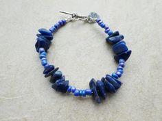 Blue Bead and Stone Sodalite Bracelet by MadeInTheFalls on Etsy
