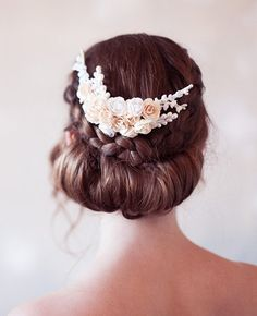 Champagne and Light Ivory Bridal Head Piece Paper by GildedShadows