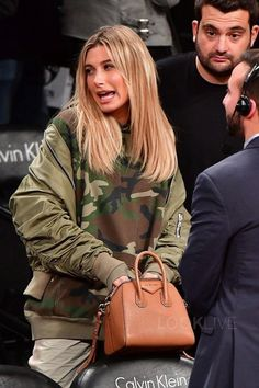 Hailey Baldwin wearing Givenchy Antigona Small Bag, Topshop 'Florris MA1' Bomber Jacket