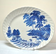 Vintage blue and white china platter, oval serving plate or meat dish. Pattern is The Ferry by Swinnertons pottery, Staffordshire, England. This blue transferware decorative plate can also be displayed in a vintage kitchen or cottage decor.  CONDITION - Used, vintage. #dishes#tableware#service, kitchenware,plate,cup,glass,porcelain