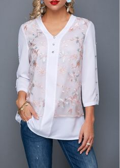 Women'S White V Neck Three Quarter Sleeve Tunic Casual Blouse Lace Panel Button Detail Fall Top By Rosewe Lace Panel Button Detail V Neck Blouse Trendy Tops For Women, Blouses For Women, Women's Blouses, White Blouses, Stylish Tops, Formal Blouses, Mode Outfits, Ladies Dress Design, White Tops